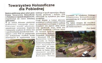 Artykuł w Panoramie Leśnej 8/8/2012: Plac zabaw dla Pobiednej